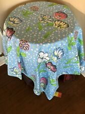 "New Disigners Workshop FashionsTableclothe scarf Topper 48""X48""Calico Tulip Blue"