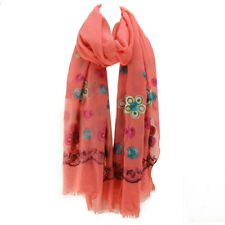 Women Embroidery Scarf Wrap Neck Large Hijab Stole Flower Watermelon Red Scarves