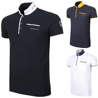 Mens Polo Shirt Crosshatch Collared Cotton T Shirt Short Sleeve Casual Top - New