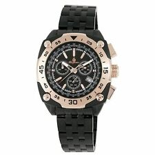 NEW Burgmeister BM326-622B Men's Wien Chronograph Rose Gold Accented Black Watch