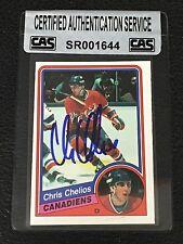HOF CHRIS CHELIOS 1984-85 OPC ROOKIE SIGNED AUTOGRAPHED CARD #259 CAS AUTHENTIC
