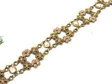 """Michal Negrin NWT Open Flower 6 Station Blush & Bronze Interlocking Bracelet-7"""""""