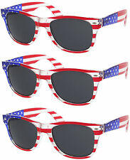 3 PAIRS SMOKE LENS American USA Flag Wayfarer Sunglasses United States wholesale