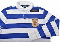 Ralph Lauren Mens Blue White Stripe Custom Fit Rugby Polo Shirt Large