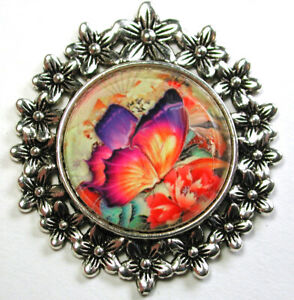 """Crystal Dome Button w Graduated Flower Border Colorful Butterfly 1 & 3/4"""""""