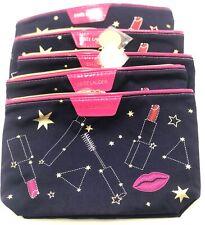 Lot of 5: ESTEE LAUDER Star Lip Stick  Printed  Cosmetic Makeup Bag ~ Dark Blue