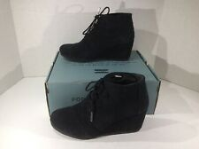 TOMS Womens Kala Black Suede Wedge Booties Ankle Boots Shoes Size 8 ZA-707