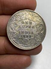 S14 British India 1898 Calcutta Silver Rupee Toned