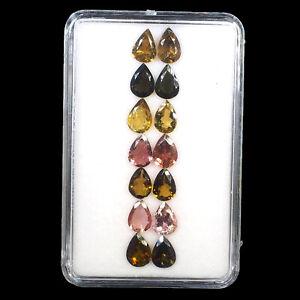 VVS 14 Pcs Natural Tourmaline Multi Colors 7mm/5mm Pear Cut Finest Quality Gems