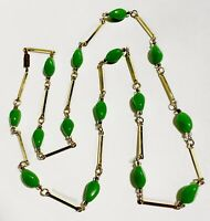 VTG Bar Chain Faux Jade Glass BEAD FLAPPER NECKLACE -Gold Tone