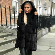 Women's Warm Gilet Outwear Long Hooded Vest Fur Waistcoat Jacket Coat Parka UK