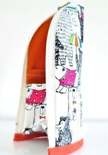 Bear orange fabric zip pouch/pencil case/makeup/crochet hook holder/glasses case