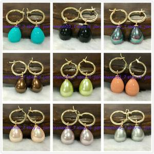 12x16mm Multicolor South Sea Drop Shell Pearl Dangle Gold Leverback Earrings 676