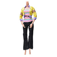 3 Pcs/set Fashion Handmade Yellow Coat Black Pant Rainbow Vest for sRKCA