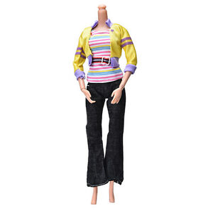 3 Pcs/set Fashion Handmade Yellow Coat Black Pant Rainbow Vest for s  YFBLC^lk