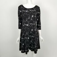 Taylor Fit Flare Sweater Dress Womens Size 10 Black White 3/4 Sleeve New NWT