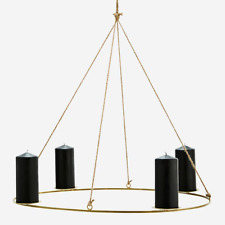 Oval Antique Brass Jute Metal Candle Holder, Hanging 4 Pillar Candle Chandelier