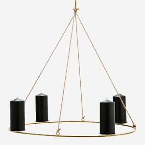 Oval Antique Brass Jute Metal Candle Holder, Hanging 4 Pillar Candle Chandelier