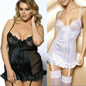 Sexy Lingerie Black White Lace Bust Babydoll Teddy Dress Lace Up Nightgown M-6XL