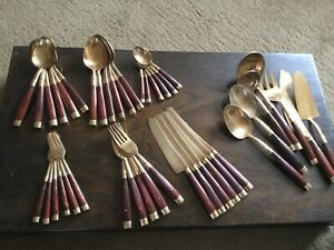 Vintage Brass Cutlery Set with wooden handles 42 pieces in all one fork missing