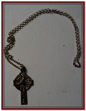 [Bijou ] CROIX Celtique avec  Pierre ROUGE Grenat ARGENT CHAÎNE 24 cm
