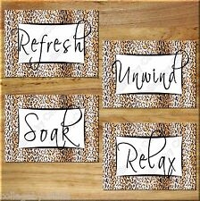 Leopard Cheetah Print Bathroom Wall Art Decor Black Brown Tan Relax Unwind Soak+