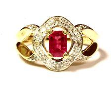 14k yellow gold .10ct I2 Top Light Brown diamond emerald cut ruby ring 3.3g