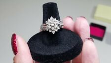 Diamond Band Cluster Ring Sterling Silver Ring sz 6 1/2