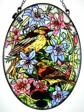 "AMIA STAINED GLASS SUNCATCHER 5.5"" X 7"" OVAL BIRDS WITH COLUMBINES #41388"