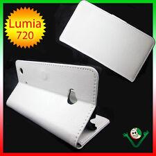 Custodia BIANCA eco pelle per Nokia lumia 720 stand up BOOKLET libretto morbido