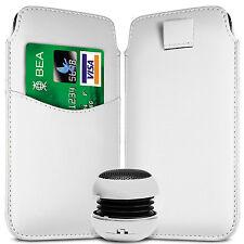 Ranura para tarjeta Pu Cuero tire Flip Tab Funda & Parlante Para Telefonos Samsung