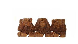 3 Scimmie Da La Saggezza Placca Parete IN Legno Indonesia 4044 B4