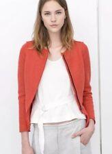 Zara Womens Wool Peplum Jacket Orange Size Medium Textured Blazer Cropped Moto
