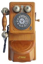 NEW Pyle PRT45 Vintage Style Home Country Wall Phone Handcrafted Classic Design