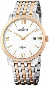 Candino Men's Quartz Watch with White Dial Analogue Display and Multicolour Stai