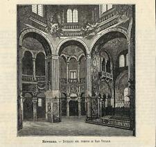 Stampa antica RAVENNA Interno Basilica San Vitale Romagna 1891 Old antique print