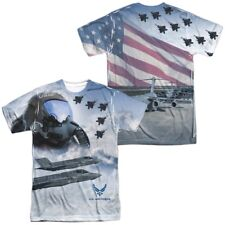 Authentic Air Force USAF Pilot Flying American Flag Front Back allover T-shirt