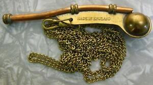 """Early """"Made in England"""" Boatswains or Bosuns whistle  Brass & Copper w/chain"""