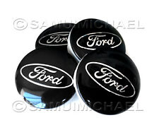 SET OF 4 BLACK FORD ALLOY WHEEL CENTRE CAPS 54MM - FOCUS/MONDEO/FIESTA/KA etc