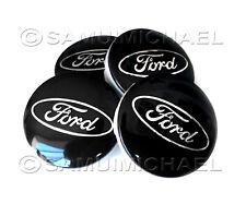 SET OF 4 BLACK FORD ALLOY WHEEL CENTRE CAPS 54MM - FOCUS/MONDEO/FIESTA/KA etc