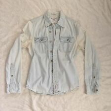Mens Abercrombie And Fitch Button Down Washed Out Denim Shirt Small Muscle Fit