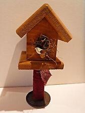 New listing Vintage Folk Art - Decorative Bird House - Bird Perched On Front