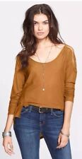 NWT Free People The Gatsby Long Sleeve Patchwork High Low Blouse Top SMALL $78