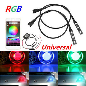 Devil Eyes RGB Car Headlight LED Bulb Decorative Light Lamp Blueteeth App 2pcs