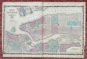 JOHNSON'S MAP OF NEW YORK AND THE ADJACENT CITIES BY JOHNSON AND WARD 1860's