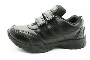 Boys Black School Shoes FLUX Leather Hook & Loop Dress Formal Easy On UK size