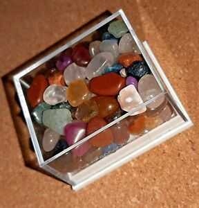SMALL BOX ASSORTED CRYSTAL CHIPS FOR HOBBIES & CRAFTS BEAUTIFUL COLOURS