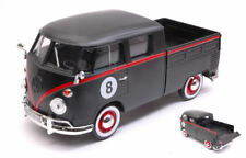 Volkswagen VW Type 2 (T1) Double Cab Pick Up #8 Matt Black / Red 1:24 Model
