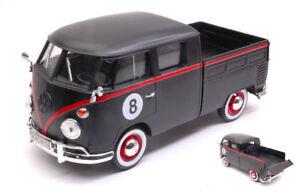 Volkswagen VW Type 2 (T1) Double Cab Pick Up #8 Matt Black / Red 1:24 Model