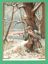 """UNUSUAL ANTIQUE VICTORIAN """"REMEMBER ME"""" GREETING CARD SCOTTISH HUNTER RIFLE SNOW"""